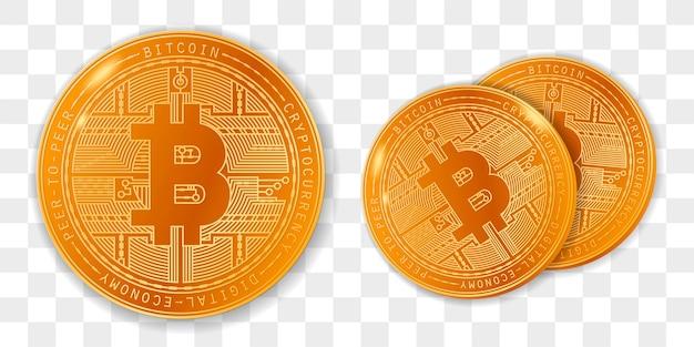 Golden bitcoins in set