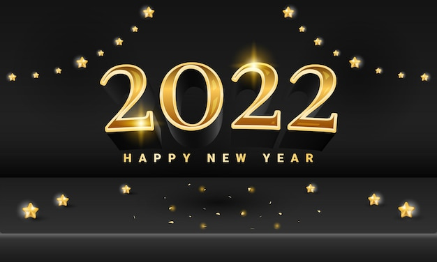 Golden black 2022 happy new year stage banner with star element