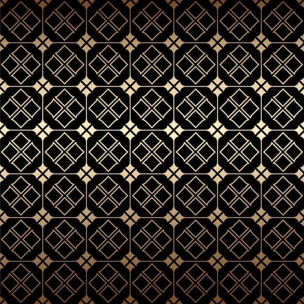 Golden and black art deco geometric seamless pattern