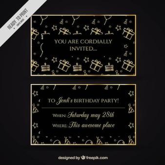 Golden and black birthday invitation
