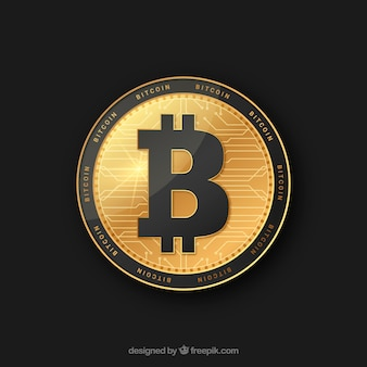 Golden and black bitcoin design