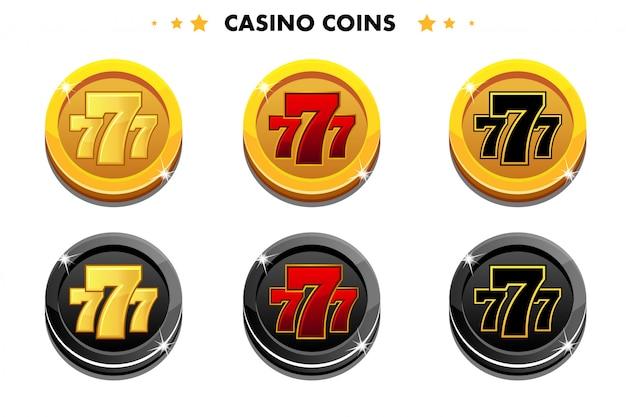 Golden and black coins, casino game symbols