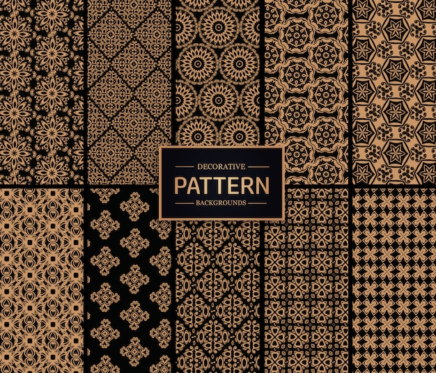 Golden and black decorative pattern collection