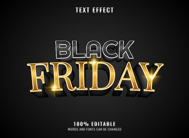 Golden black friday editable text effect