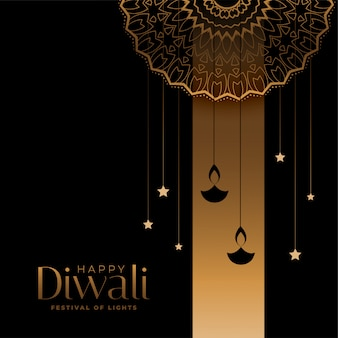 Golden and black happy diwali festival card