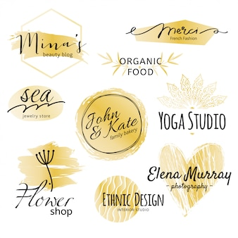 Golden and black logo collection.