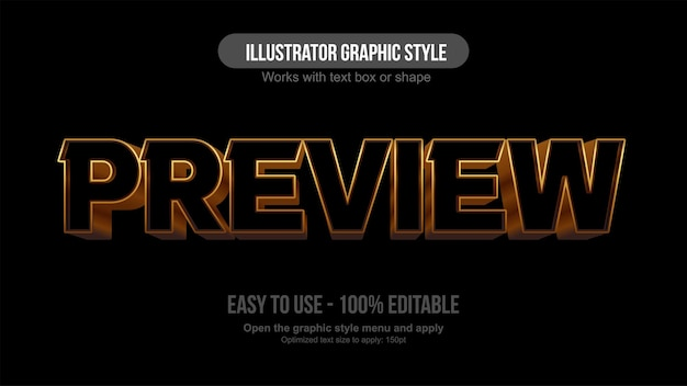 Golden and black perspective 3d editable text effect