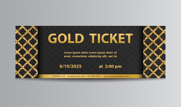 Golden black ticket with lattice