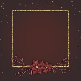 茶色の背景に金色の空白のクリスマスフレーム
