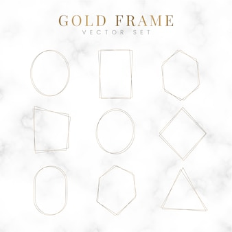 Golden blank frame vector set