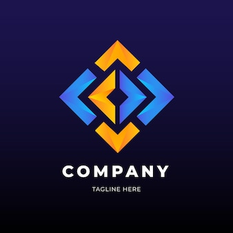 Golden and blue diamond shape logo business template
