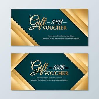 Golden and blue gift voucher template