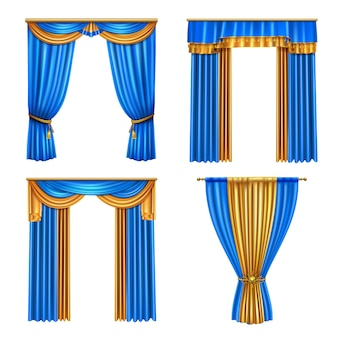 Golden blue long luxury drapes curtains set 4 realistic living room window decorations ideas isolated  illustration