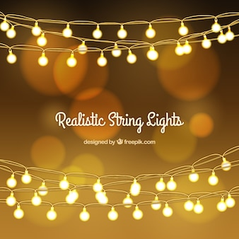 Golden bokeh background with string lights