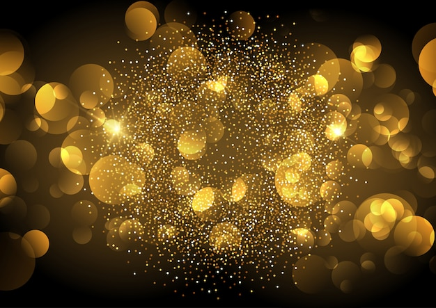 Golden bokeh lights background