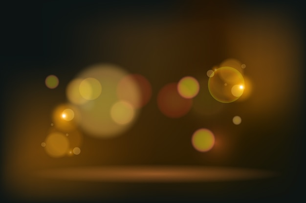 Golden bokeh lights effect on dark background