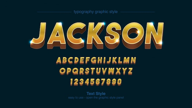 Golden bold uppercase text style