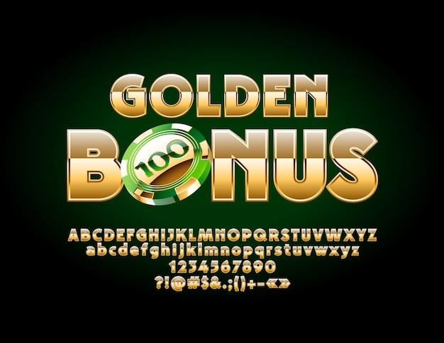 Golden bonus with luxury alphabet letters. elegant glossy font