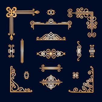 Golden border ornament assortment
