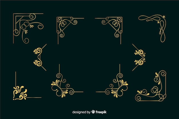 Golden border ornament collection on dark green background