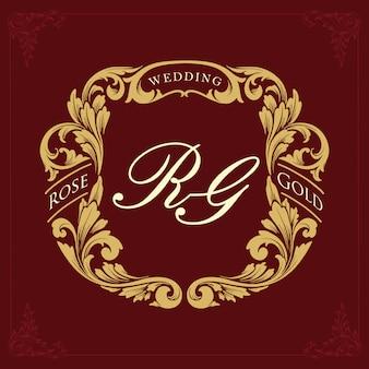 Golden border ornament collection wedding luxury Premium Vector