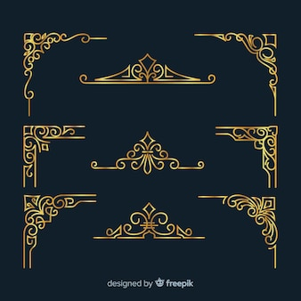 Golden border ornament pack