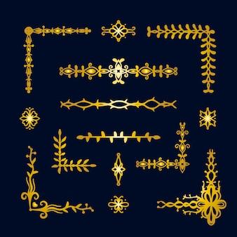 Golden border ornament pack