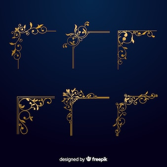 Golden border ornament set