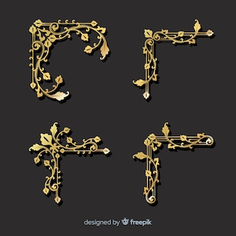 Golden border ornament set