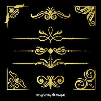 Golden border ornaments pack