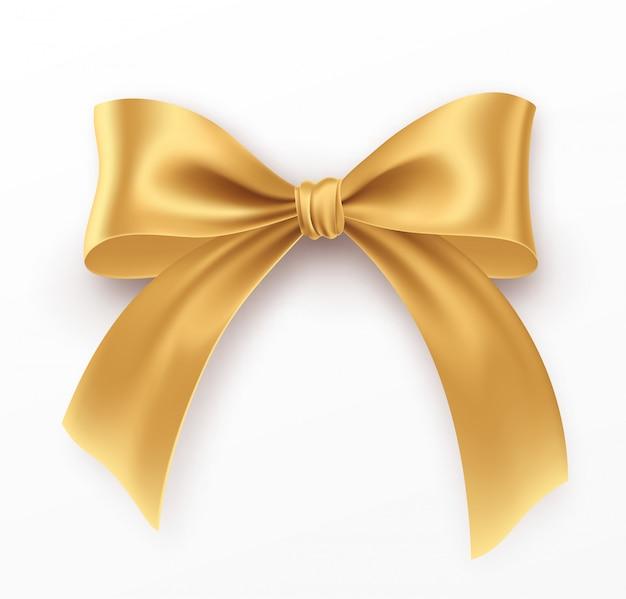 Золотой лук и ленты на белом фоне. реалистичный золотой лук.