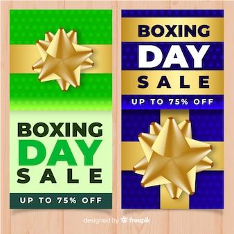 黄金の弓のボクシングの日の販売のバナー