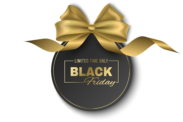 Golden bow and curly ribbon with tag isolated on white background for black friday sale. vector, luxurious label to advertise your business promotions. commercial discount event. eps 10.