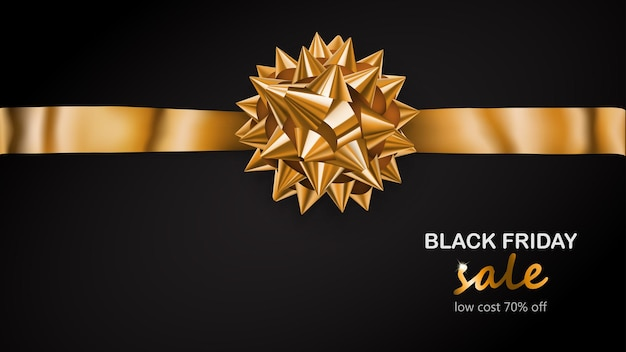 검은색 바탕에 그림자와 블랙 프라이데이 세일이라는 문구가 있는 수평 리본이 있는 황금 활