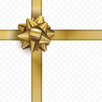Золотой бант с лентой на прозрачном фоне. лук золото реалистичный дизайн. декоративный подарок. вектор