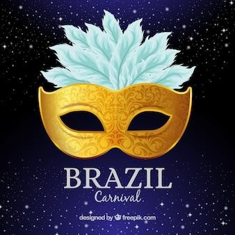 Golden brazilian carnival mask