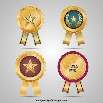 Golden bright round medals