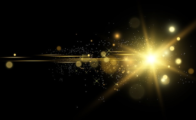 Golden bright star. light effect bright star. beautiful light to illustrate.  star white sparks sparkle with a special light. sparkles on transparent background.