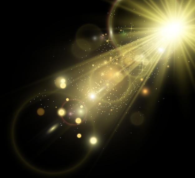 金色の明るい星光の効果明るい星クリスマスの星を説明する美しい光白い火花が透明な背景に特別な光の輝きで輝きます