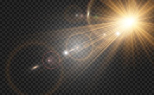 황금 밝은 별. 조명 효과 밝은 별. 설명 할 아름다운 빛.