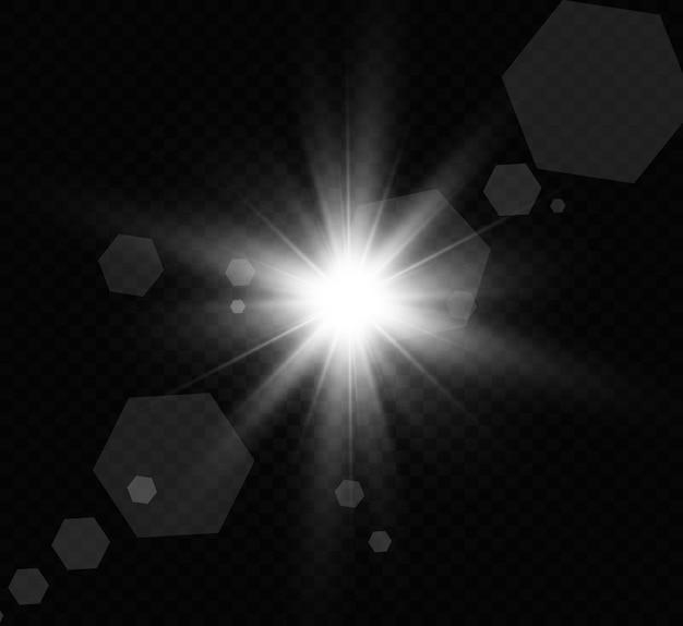 黄金の明るい星。光の効果の明るい星。美しい光