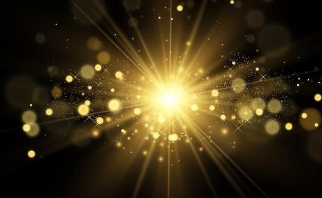 Golden bright star light effect bright star beautiful light