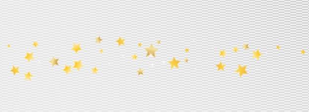 Golden bright stars vector transparent background. digital glitter banner. starry background. gold shimmer space illustration.