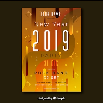 Golden bronze new year poster template