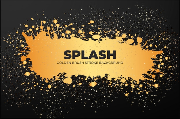 Golden brush stroke banner template