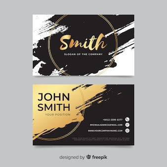 Golden brush stroke business card