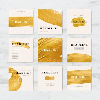Golden brush stroke business template collection vectors