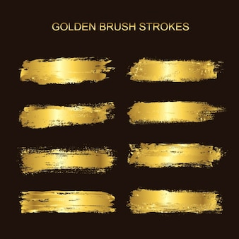 Golden brush strokes collection