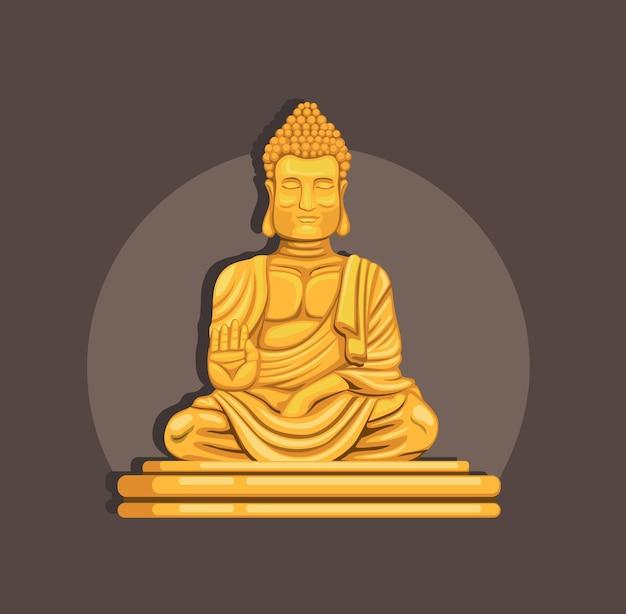 Статуя золотого будды Premium векторы