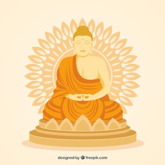Golden budha statue with flat design